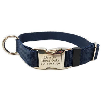 Rita Bean Engraved Buckle Personalized Dog Collar - Nylon Webbing (Navy Blue)