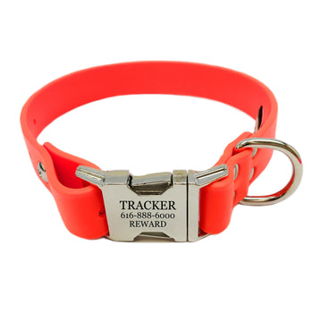Waterproof Engraved Buckle Dog Collar - Orange