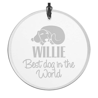 Personalized Best Dog In The World Christmas Ornament - Beveled Glass