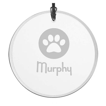 Personalized Paw Print Christmas Ornament - Beveled Glass