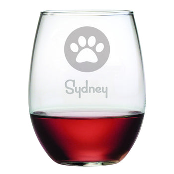 Personalized Paw Print Stemless Wine Glasses (Set Of Four)