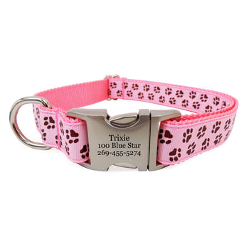Rita Bean Engraved Buckle Personalized Dog Collar - Paw Prints (Pink)