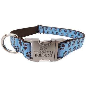 Rita Bean Engraved Buckle Personalized Dog Collar - Paw Prints (Blue)