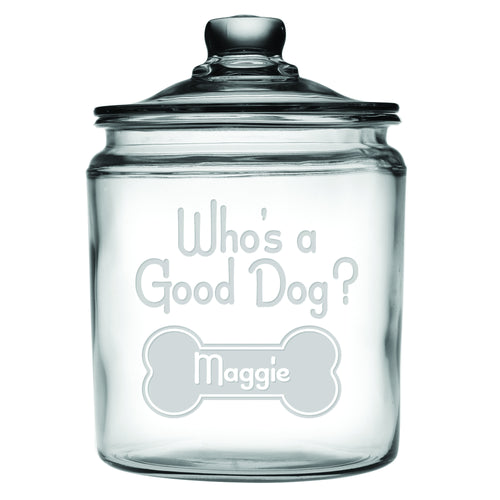 Who's A Good Dog Personalized Half Gallon Dog Treat Jar