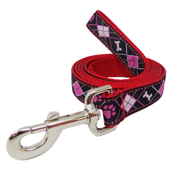 Rita Bean Dog Leash - Pink & Black Argyle