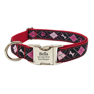Rita Bean Engraved Buckle Personalized Dog Collar - Pink & Black Argyle