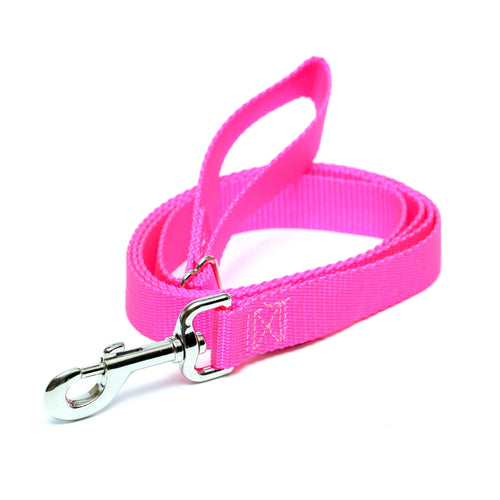 Rita Bean Dog Leash - Nylon Webbing (Neon Pink)