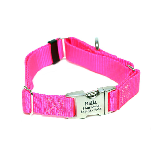 Rita Bean Engraved Buckle Personalized Martingale Style Dog Collar - Nylon Webbing (Neon Pink)