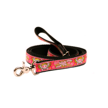 Rita Bean Dog Leash - Pink Skull & Crossbones Tattoo Hearts