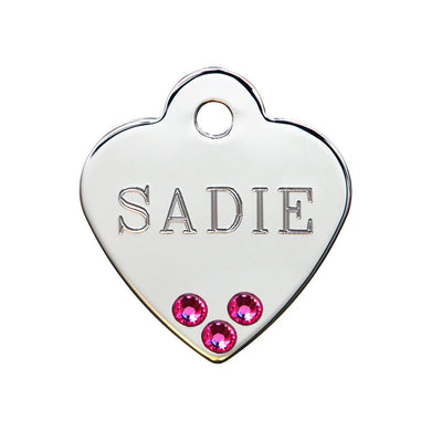 Rita Bean Dog Tag - American Classic Chrome Heart With Pink Stones
