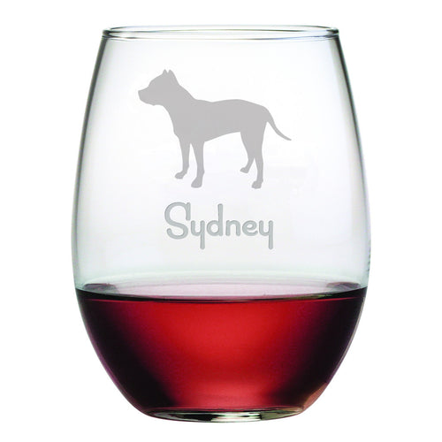Personalized Dog Breed Stemless Wine Glasses (Set Of Four) - Pit Bull Terrier