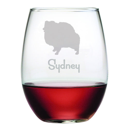 Personalized Dog Breed Stemless Wine Glasses (Set Of Four) - Pomeranian