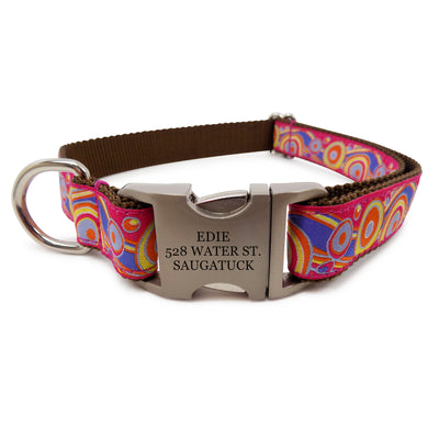 Rita Bean Engraved Buckle Personalized Dog Collar - Pop Art