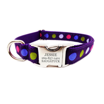Rita Bean Engraved Buckle Personalized Dog Collar - Purple Dots