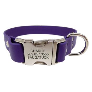 Waterproof Engraved Buckle Dog Collar - Purple