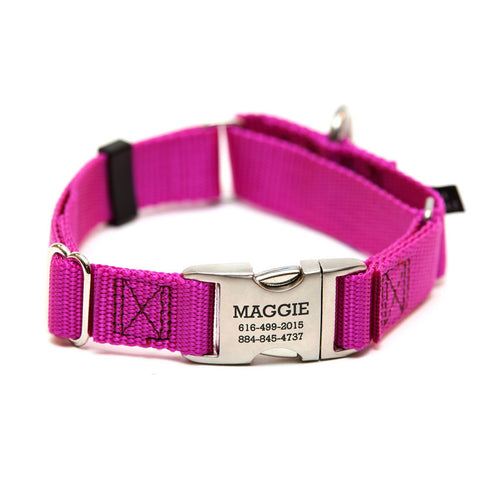 Rita Bean Engraved Buckle Personalized Martingale Style Dog Collar - Nylon Webbing (Raspberry)