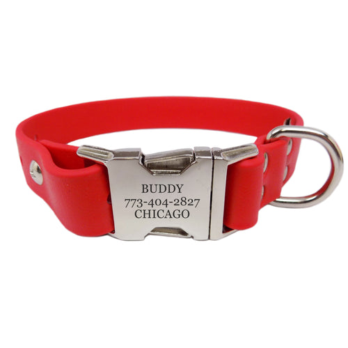 Waterproof Engraved Buckle Dog Collar - Red