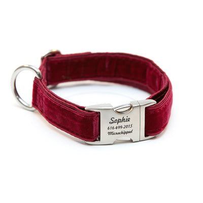 Rita Bean Engraved Buckle Personalized Dog Collar - Velvet (Burgundy)