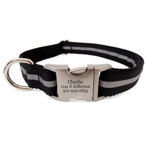 Rita Bean Engraved Buckle Personalized Dog Collar - Reflective Stripe (Black)