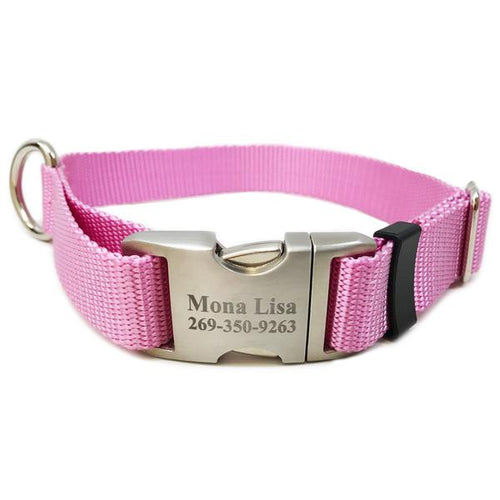 Rita Bean Engraved Buckle Personalized Dog Collar - Nylon Webbing (Rose Pink)