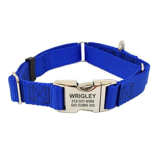 Rita Bean Engraved Buckle Personalized Martingale Style Dog Collar - Nylon Webbing (Royal Blue)