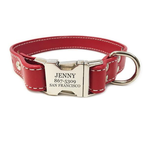Rita Bean Heavy Duty Engraved Buckle Leather Dog Collar - Red