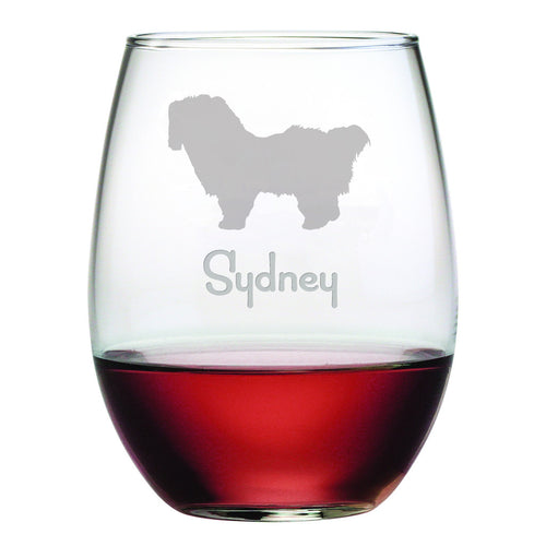Personalized Dog Breed Stemless Wine Glasses (Set Of Four) - Shih Tzu