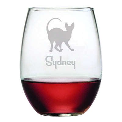 Personalized Cat Breed Stemless Wine Glasses (Set Of Four) - Siamese Cat