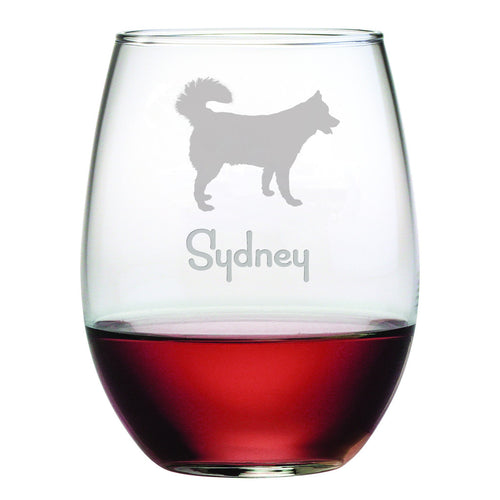 Personalized Dog Breed Stemless Wine Glasses (Set Of Four) - Siberian Husky