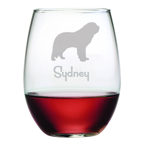 Personalized Dog Breed Stemless Wine Glasses (Set Of Four) - St. Bernard