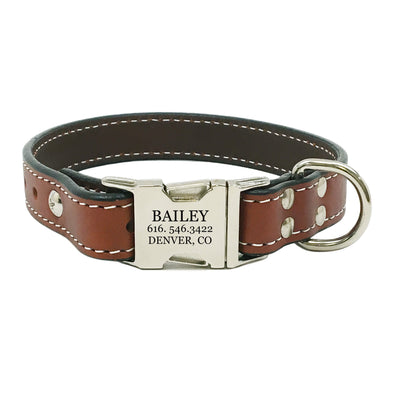 Rita Bean Heavy Duty Engraved Buckle Leather Dog Collar - Chestnut Brown