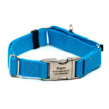 Rita Bean Engraved Buckle Personalized Martingale Style Dog Collar - Nylon Webbing (Turquoise Blue)