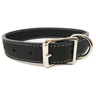 Rita Bean Italian Leather Dog Collar With Engraved Nameplate - Black