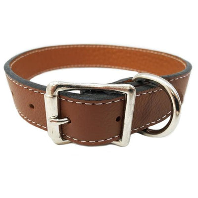 Rita Bean Italian Leather Dog Collar With Engraved Nameplate - Brown