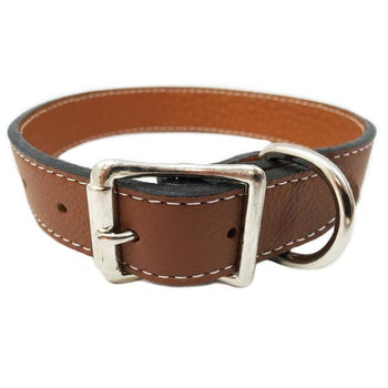 Rita Bean Italian Leather Dog Collar - Brown