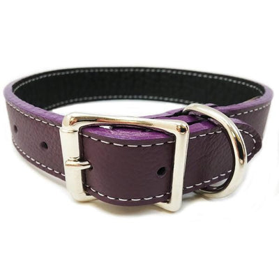 Rita Bean Italian Leather Dog Collar With Engraved Nameplate - Purple