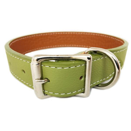 Italian Leather Dog Collar - Green