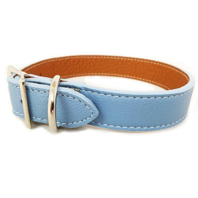Rita Bean Italian Leather Dog Collar With Engraved Nameplate - Light Blue