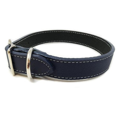 Rita Bean Italian Leather Dog Collar With Engraved Nameplate - Dark Blue