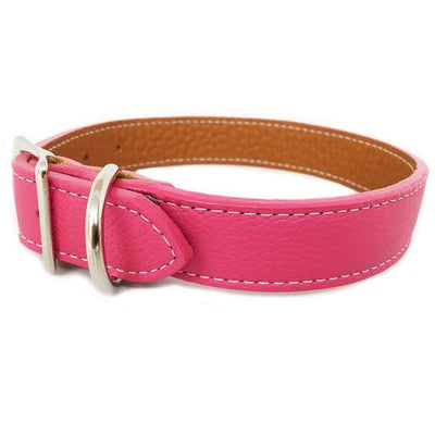 Rita Bean Italian Leather Dog Collar With Engraved Nameplate - Pink
