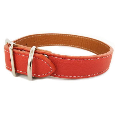 Rita Bean Italian Leather Dog Collar With Engraved Nameplate - Terracotta