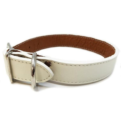 Rita Bean Italian Leather Dog Collar With Engraved Nameplate - White