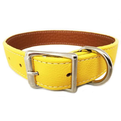 Rita Bean Italian Leather Dog Collar With Engraved Nameplate - Yellow