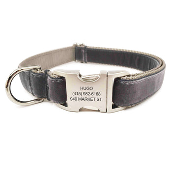 Rita Bean Engraved Buckle Personalized Dog Collar - Velvet (Smoke Gray)