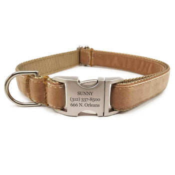 Rita Bean Engraved Buckle Personalized Dog Collar - Velvet (Tan)