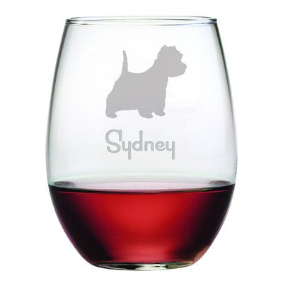West Highland Terrier Custom Dog Wine Glasses