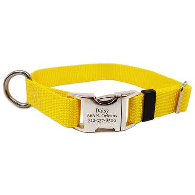 Rita Bean Engraved Buckle Personalized Dog Collar - Nylon Webbing (Yellow)