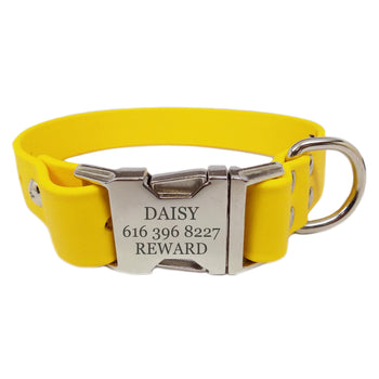 Waterproof Engraved Buckle Dog Collar - Yellow