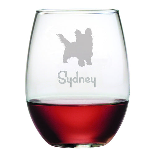 Personalized Dog Breed Stemless Wine Glasses (Set Of Four) - Yorkshire Terrier