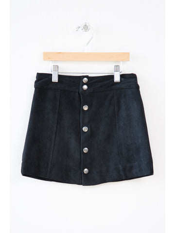 Faux Suede Snap Skirt